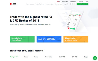 XTB homepage overview
